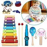 Xilofonoinfantil, Xilofonomadera 9 Piezas juguete, Xilofono niños 8 teclas, Xylophonebebe, Xilofono bebe percusión juguete de Instrumentos musicales regalo para pequeños músicos