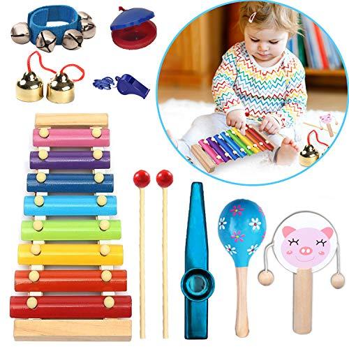 Xilofonobambini, xilofono set di 9 pezzi, xilofonoprofessionale 8 chiavi, xylophone bambino, percussioni strumenti musicali con spartito in dotazione educativo giochi musicali per bambini