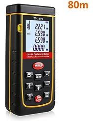 Tacklife Professional Laser Entfernungsmesser Distanzmessgerät 0,05~80m/±2mm Distanzmesser distanz messgerät mit LCD Hintergrundbeleuchtung, inkl.Batterie und Schutztasche