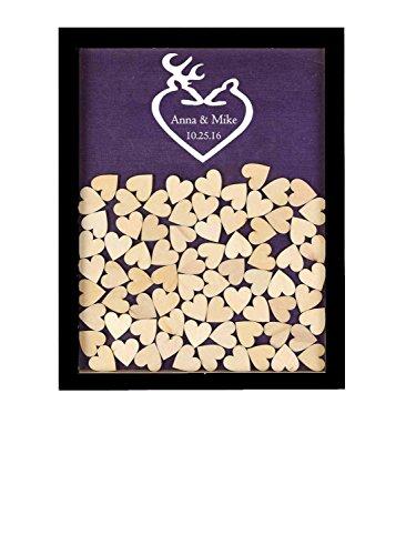 Monsety Schwarz und Weiß Love Deer Head Rustikal Gästebuch Hochzeit Holz Drop Top Frame Gästebuch Alternative Hochzeit Ideen, mit Herzen Schild 40x 50cm mit 150Herzen, Holz, Color 5, 40 x 50cm (Und Weiß-hochzeit Schwarz Bevorzugungen)