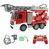 efaso 1:20 RC Feuerwehr Leiterwagen - Mercedes Antos Lizenzmodell E527-003 - 2,4 GHz Rettungsfahrzeug mit Blaulicht und Sirene, beweglicher Leiter und Wasserspritze