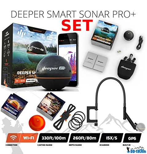 Deeper Smart Sonar Pro + Plus SET Wifi GPS + Smartphone Halterung + Night Fishing Cover + Flexarm Bathymetrische Karte
