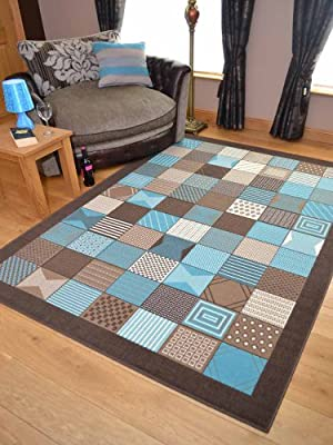 Trend Brown Teal Window Design Rug. Available in 8 Sizes - low-cost UK light store.