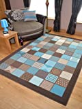 Trend Brown Teal Window Design Rug. Available in 8 Sizes (60cm x 110cm)