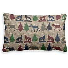 Bonny sui Pillow case Moose Wolf pino rustico iuta federa taglie