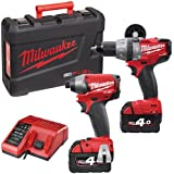 Milwaukee M18PP2A-402C M18 Fuel Compact with Percussion Drill and Impact Driver (Twin Pack)