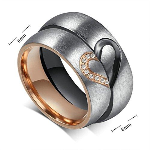 Gnzoe Schmuck, Edelstahl Ringe Love Puzzle mit Zirkonia CZ 6mm Breit Gr.54(17.2) Rose Gold Trauringe Heiratsantrag Band Für Damen