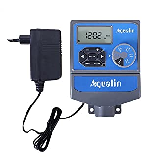Aqualin 8 Stations Automatic Water Hose Timer Watering Computer Irrigation Controller With EU Standard Transfomer For Farmland, Court, Garden