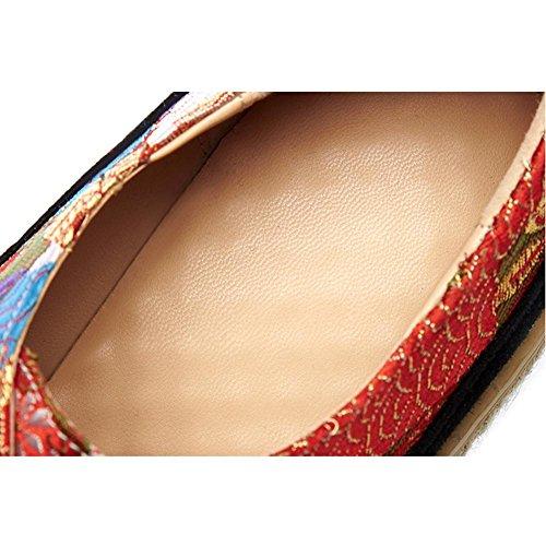 Chaussures à Plateformes Femme WSXY-A1423 Broderie de Modèle de Mode Creepers Baskets,KJJDE red