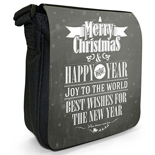 Natale con scritta, colore: nero Vintage a spalla in tela, piccola, colore: nero, taglia: S Best Wishes Christmas New Year