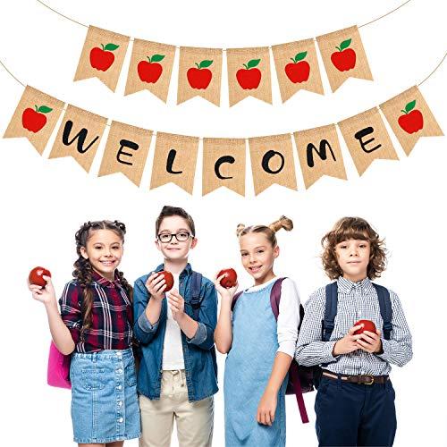 leinen Willkommen Banner Apfel Banner Wimpel Zeichen Zurück zu Schule Banner Herbst Banner Schule Banner für Klassenzimmer Deko Lehrer Geschenke Apfel Thema Party Dekorationen ()