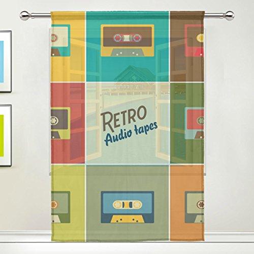 COOSUN Retro Audio Bänder schiere Vorhang Panels Tüll Polyester Voile Fenster Behandlung Panel Vorhänge für Schlafzimmer Wohnzimmer Home Decor, 55 x 84 Zoll, 1 Stück (Schiere Stück Band 2)