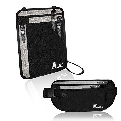 RFID Marsupio Portasoldi + Portafogli da viaggio / Portadocumenti da collo / Custodie per passaporto. Proteggi Cintura Nascosta Fermasoldi Borse organizer Protettive Caso pacchetto di Denero