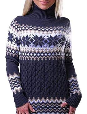 Sweater Mujer Elegantes Manga Larga Suéter Áspero Espesor Termica Jersey Cuello Alto Otoño Invierno Fashion Clásico...