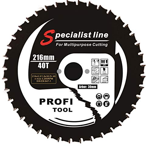 profi-tool-germany HM-Sägeblatt 216 x 2,2 x 30 Z= 40 WZ Universal für Holz/Alu/Stahl/PVC mit Antihaft Beschichtung