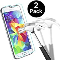 [Pack of 2] Samsung Galaxy S5 Screen Protector, HUSHCO Premium Tempered Glass Screen Protector for Galaxy S5 S5 Neo with [Scratch Resist] [Bubble Free Install] [2.5D Rounded Edge] [HD Clear] [Life-Time Warranty]