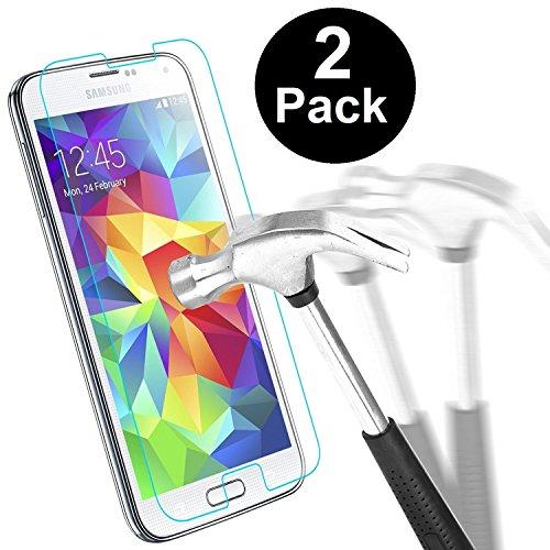 Samsung Galaxy S5Protection d'écran, Hushco Premium Protection d'écran en verre trempé pour Galaxy S5S5neo avec [Résister aux rayures] [sans bulles installer] [2.5d Bords arrondis] [HD clair] [Vie de garantie]
