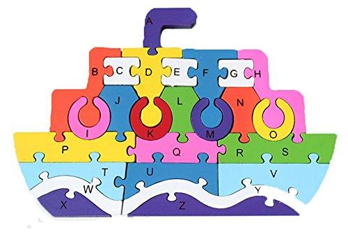 PROW® Kinder Puzzles, Dampfschiff Spielzeug Vorschule Baby 3D Bausteine Lernen Alphanumerisch sicher und ungiftig Lernen Buchstaben Zahlen Puzzles (26 Stück)
