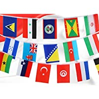 ‏‪URTop 82 Feet 8.2'' x 5.5'' International String Flags Banners 100 Countries Flags World Flags Pennant Banner for Olympics Grand Opening Sports Bars Clubs Party Events Decorations‬‏