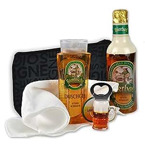 Originelles Männer Bier Geschenk-Set Feierabend handverpackt inklusive Bierbad und Duschgel plus Flaschenöffner dazu Kulturtasche DAS ORIGINAL