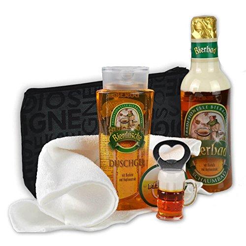 Originelles Männer Bier Geschenk-Set Feierabend handverpackt inklusive Bierbad und Duschgel plus Flaschenöffner dazu Kulturtasche DAS ORIGINAL (Herr Bier)