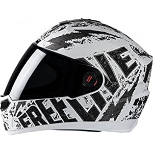 Steelbird Helmet SBA-1 Free Live with Smoke Visor and Matt Finish (Large 600MM, White with Grey)