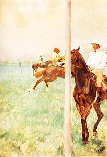 JH Lacrocon Edgar Degas - Jockeys Antes De La Carrera Reproducción Cuadro sobre Lienzo Enrollado 60X90 cm - A Caballo Pinturas Impresións Decoración Muro