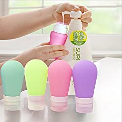 Perfect Large Size 60ml Set of 2 Empty Silicone Travel Refillable Bottle Cosmetic Soft Tube Packing Squeezable Press Bottling Container For Lotion, Shampoo, Shower Gel, Conditioner, Toiletries, Bath Cream - 2pc/Set (Random Color) By Perfect Pricee ™
