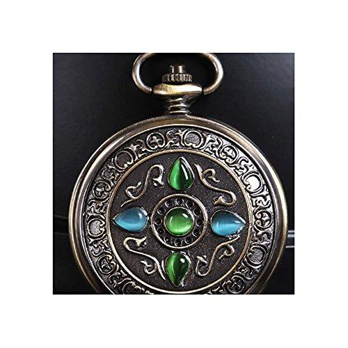 QB-Pocket watches Geschnitzte mechanische Taschenuhr der Edelsteine   retro Clamshell nostalgische Art und Weisemänner und Studentin Taschenuhrhalskette -