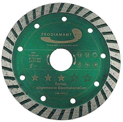PRODIAMANT Diamant-Trennscheibe Beton/allgemeine Baumaterialien 115 mm x 22,2 mm Diamanttrennscheibe 115mm passend für Winkelschleifer