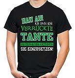 Verrückte Tante T-Shirt | Geburtstag | Geschenk | Geschenkidee | Sprüche | Zitate | Kostüm | Coole | Mama | Papa | Männer | Herren | Fun (S, Schwarz)
