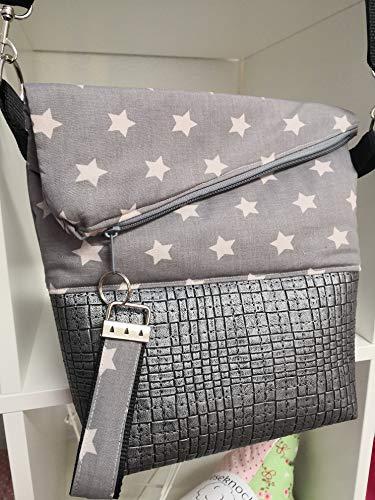 Ausgefallene Damen-Handtasche - Foldover - Kunstleder Grau - Hellgrau-Sterne