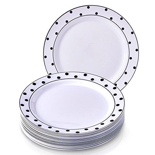 Charming Dots Kollektion weiß mit schwarz gepunktetem Einweg Teller dinnerware- rund Schwergewicht Kunststoff 26cm rund Abendessen Teller (Fiesta Schwarz Platte)