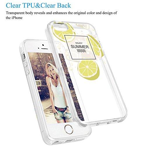 iPhone 5/5s/SE hülle vanki® Lustig Schutzhülle Clear Case Cover Bumper TPU Silikon Handyhülle für iPhone 5/5s/SE (Wine) Lemon