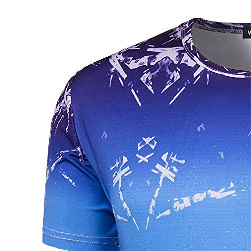 Whatlees Herren Hip Hop Slim Fit T-Shirt mit Bunt 3D Druck Muster B056-33
