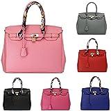 GetThatBag® Bobbie Frauen Golden Hardware 35cm Padlock Tote Handtasche - Schwarz / Baby-Rosa / Grau / Rot / Blau / Dunkelpink