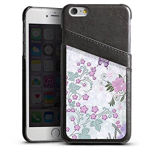 Apple iPhone 5 Housse Étui Silicone Coque Protection Papillons Fleurs Fleurs Étui en cuir gris