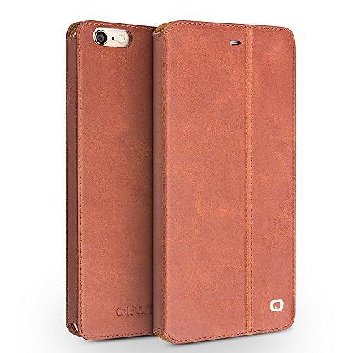 iPhone 6/6S/+ Plus Étui avec support, étui à rabat ultra fin en cuir véritable Housse de protection, qialino Étui ultra-fin pour téléphone, 11,9cm/14cm Protection d'Apple Cellule, Cuir, iphone6 plus iphone6 Brown