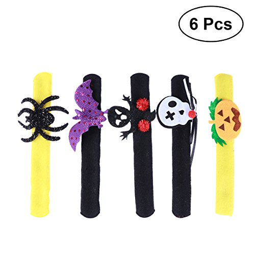 NUOBESTY 6pcs Halloween Slap Armband Kürbis Slap Armband Ghost Slap Armband Skeleton Slap Armband Spider Slap Armband Halloween Party Favors
