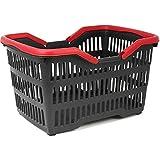 com-four® Cesta de Compras con Asas de Transporte, Cesta de plástico Resistente en Negro/Rojo, 39.5 x 29 x 22.5 cm (001 Pieza - Negro/Rojo)
