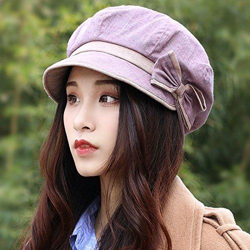 ZHANGYONG*Hüte weibliche Barette 8 englische Ecke cap stilvolle Bow Tie cap Maler Ventilfederteller (55-58 cm Tide, M), Leder Violett
