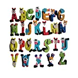 DEELIN A-Z Alphabet Magnetbuchstaben Worte Holz Cartoon Kühlschrank Magnet für Lernen & Bildung - Kid Baby Pädagogisches Spielzeug