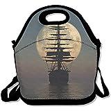 Lunch-Taschen aus Neopren, Motiv Segelschiffe, groß, dick, isoliert, warm, mit Schultergurt, für...