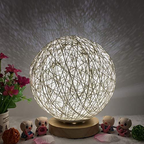 WOSOSYEYO Bola de ratán romántica Luz de Noche con Base de Madera Lámpara de Noche Regulable Fiesta en casa Decoración de Boda Mesita de Noche para el Dormitorio