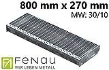 Fenau | Gitterrost-Stufe (R11) XSL – Maße: 800 x 270 mm - MW: 30 mm / 10 mm - Vollbad-Feuerverzinkt – Stahl-Treppenstufe nach DIN-Norm | Fluchttreppen geeignet/Anti-Rutsch-Wirkung