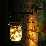Solarlampen fur Garten - NEWYANG Wetterfest Solar Einmachglas Aussen Lampions, Lichterkette im Glas,Gartendeko Solarleuchten für Weihnachten,Außen Laterne, Hof, Hochzeit, Party,Wand, Tisch, Baum(Warm)