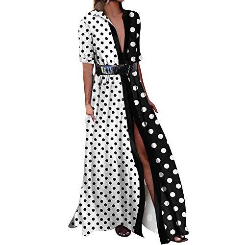 Cinnamou_mujer Maxi Vestidos Lunares, Pachecolor Largo Vestido de Mujer Verano 2018 Elegantes Tunica para Boda Fiesta