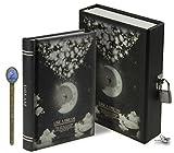 LY wie ein Traum Moonlight Muster Skizzieren Schreiben abschließbar Notizbuch 288Seiten Tägliche Tagebuch Secret Diary mit Speicher Fall A6 Einheitsgröße Black, Moon