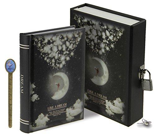 LY Como Un Sueño Luna patrón dibujo escritura con cerradura Notebook 288páginas diario diario secreto con funda de almacenamiento A6, color Black, Moon talla única