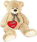 Brubaker Riesiger XXL Teddybär 150 cm groß Beige mit Einem 'I Love You' Plüschherz